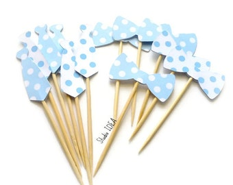 Baby blue-White Polka dots Tie & Bowtie Cupcake Toppers, Food Picks -Sets of 12 or 24pcs