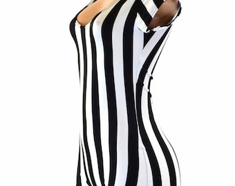 Black & White Stripe Referee Print Cap Sleeve Bodysuit Romper  Jailbird inmate 151213