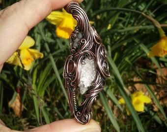 Satine* selenite/garnet/grape agate and copper wire wrapped pendant