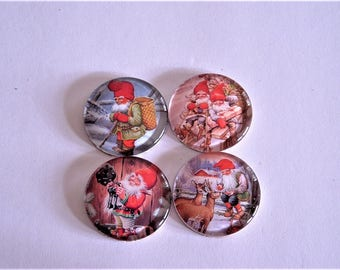 "Assorted Christmas Dwarfs 1.5"" Round Glass Magnet Set of 4"