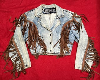 1980's Cropped Denim Jacket With Fringe - Small