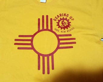Vitntage Taos New Mexico Yellow and Red Bicycle T-Shirt - Made by Gildan - Gearing Up Bicycle Shop - Double-Sided