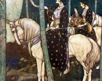 Maidens on Horses Edmund Dulac Illustration Repro Fabric Block