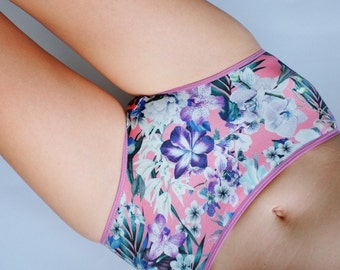 Tropical flower patterned Hipster style Panties. Cotton undies for women.