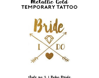 Bachelorette Tattoo Favors | Metallic Gold Temporary Tattoos for Bachelorette Party Favors, Gold Foil Bride Tribe Tattoos, Boho Arrow Tribal