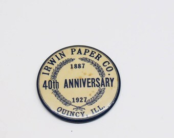 1927 Irwin Paper Co 40th Anniversary Pocket Mirror Advertising Quincy ILL