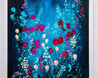 Original Acrylic Painting, acrylics on paper, original abstract floral art, ArtWork by AliiArtColors, 297x210mm
