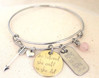 She Believed She Could So She Did   Bangle Bracelet   Charm Bracelet   Coordinates Bracelet   Inspirational   Graduation Gift   Arrow Charm
