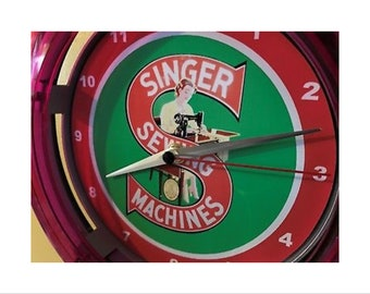 Singer Sewing Machine Tailor Seamstress Neon Wall Clock Sign