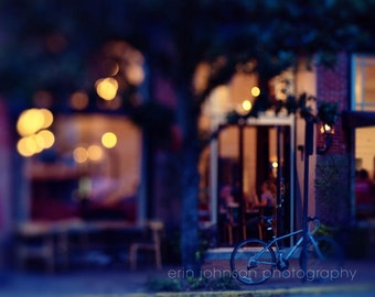 savannah georgia photography, night photography, cafe decor, street photograph, midnight blue, cityscape, bokeh, Savannah at Night