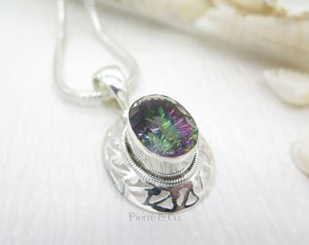 Filigree Mystic Topaz Sterling Silver Pendant and Chain