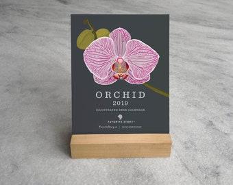 2019 Desk Calendar, Orchid | 2019 Calendar with Stand | Floral Desk Calendar 2019