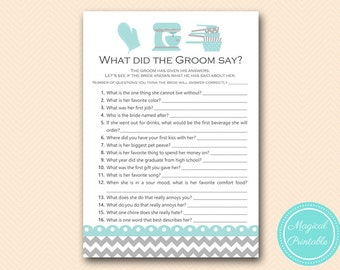 Aqua Kitchen Bridal Shower Games, What did the Groom Say, What did he say about her, Newlywed Game, Bridal Shower Game, Games Download BS76