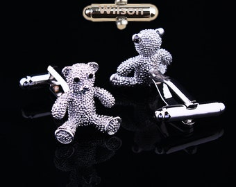 DateandInitialsCufflinks,personalised gift,Teddy Bear gifts, Silver Bear, Bear cufflinks, bear ,guys prom,wedding gift,wedding gift