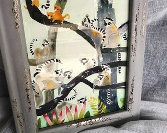 Lemurs! In 8x10 watercolour, New from BronxBaby Designs