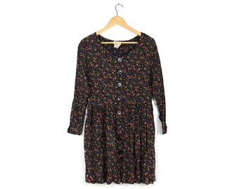 Floral Long Sleeve Grunge Dress