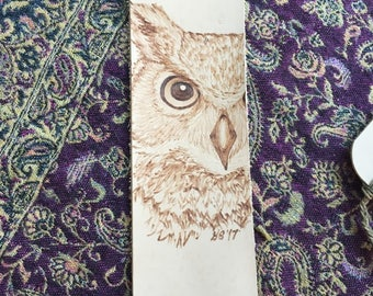 Leather Bookmark with Burned Great Horned Owl Design