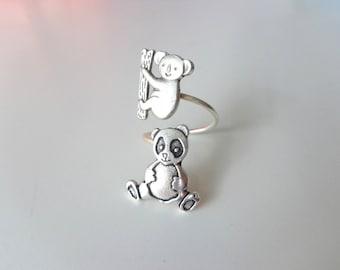 koala panda ring, adjustable ring, animal ring, silver ring, statement ring