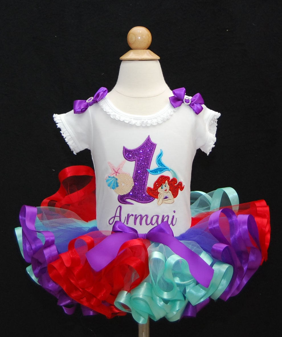 Little Mermaid Birthday Tutu Outfit 1st Girl Ariel Shirt Personalized First Cake Smash Dress Set