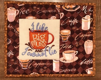 Quilted mug rug, coffee theme, snack mat, coaster, mini-place mat, trivet, Father's day, Quiltsy handmade, Item #326
