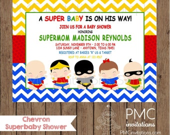 Perfect Custom Printed Chevron Superhero Baby Shower Invitations   1.00 Each With  Envelope