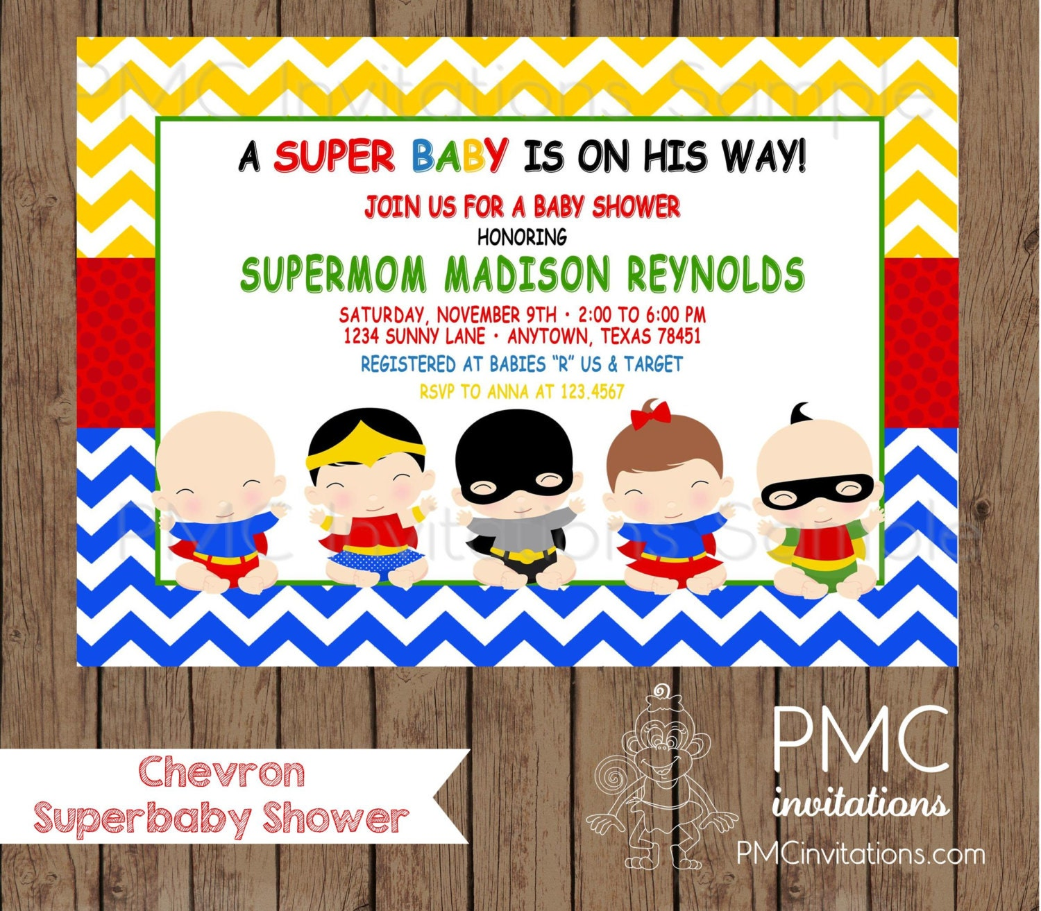 Custom Printed Chevron Superhero Baby Shower Invitations
