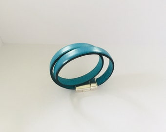sky blue leather bracelet male or female