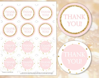 Pink and gold Thank you tags (INSTANT DOWNLOAD) - Pink and gold stickers - Pink and gold tags - Pink and gold labels BI001 BA002