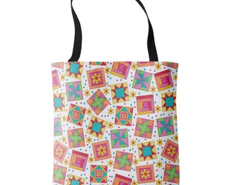 """Quilt Block Art 16"""" x 16"""" Tote Bag, White Background, Multicolor Quilt Block Toss, Patchwork Tote, Large Quilter Tote, Quilt Carry All"""