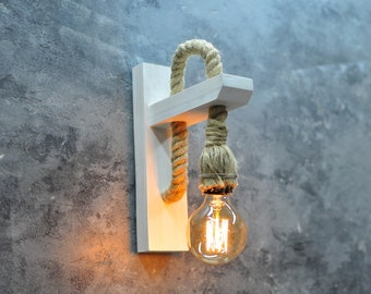 Wall lamp - Wooden lamp - Wall sconce lighting - Edison lamp - Minimalist lamp with rope - Industrial lighting - Reading lamp - Wall light