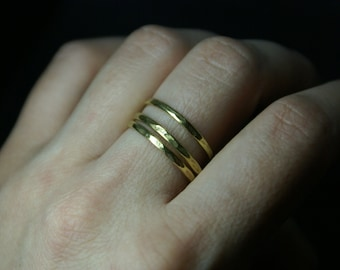 Stackable ring, Set of 3, Stacking rings, Knuckle ring, Stackable gold rings, Gold ring, Brass ring, Hammered, Promise ring