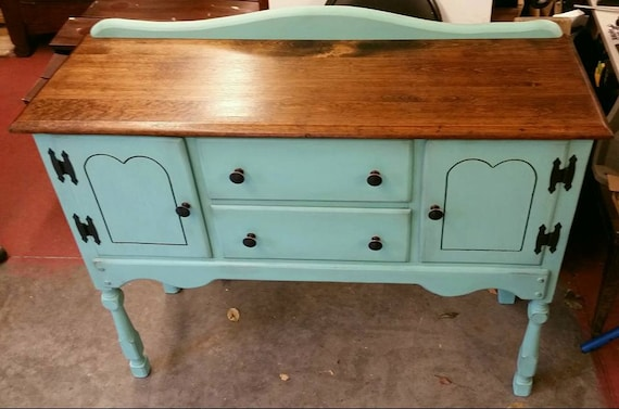 Vintage Maple Buffet Table Shabby Chic Furniture Chalk Painted Side Server Dining Room Small Sideboard