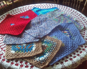 Set of 12, granny,squares,crafts,crochet,bags,afghans,lapghans,supplies,12 x 12