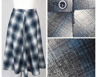 Vintage 70's Women Skirt Knee Length Grey/Blue Tartan A-line High Waist UK12/14 EU40