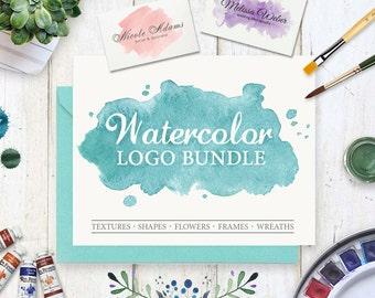 Watercolor Design Kit. Logo Templates. Watercolor Logo pack. Wedding design pack. Watercolor shapes, circles, washes. Brand Identity Pack
