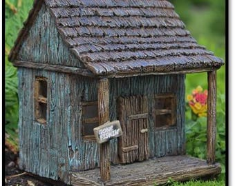 "Fairy Wharf House ""Gone Fishin"" with Hinged Door for the Fairy Garden"