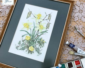 Patience Arnold Collectable Vintage Watercolour Botanical Framed Picture - Spring Yellow Daffodil Painting - Hand Painted Vintage Flowers