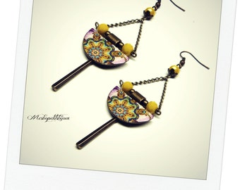 These mandala earrings pink and yellow