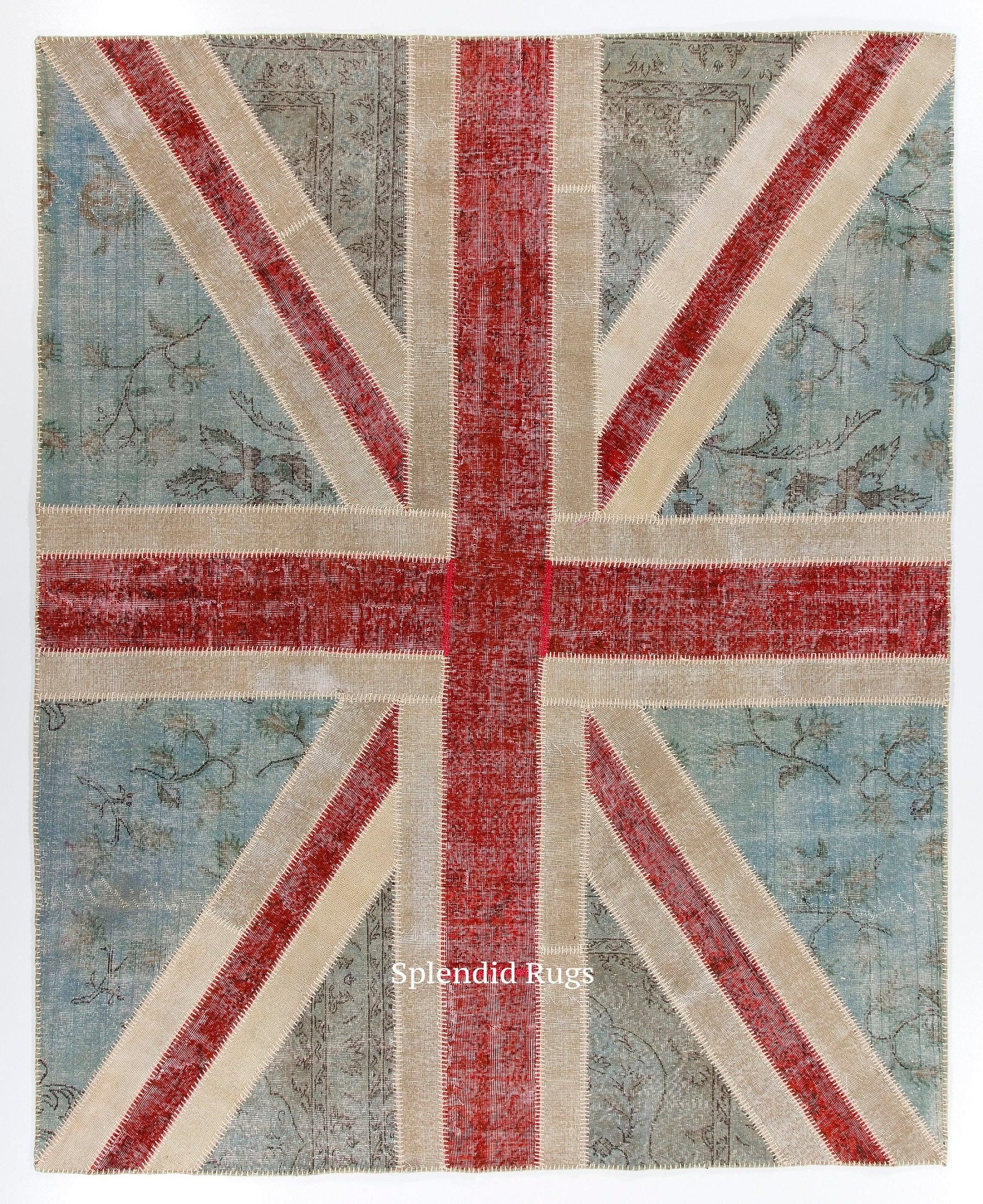 8x10 Ft British Flag Union Jack Design Patchwork Rug