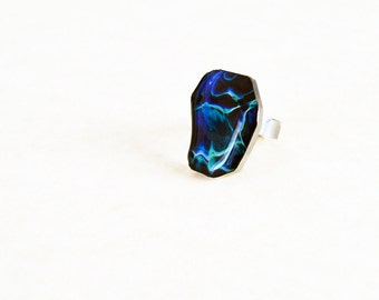 Whimsical blue ripples ring / Ocean blue resin jewelry / Fun summer ring /  Sea inspired statement jewellery / FREE SHIPPING