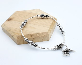 925 Sterling Silver Ethnic Key and Lock bracelet, Stretch Bracelet, Women's bracelet