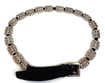 Silver Tone Metal Belt, Filigree Belt, Metal Chain Belt, Rhinestone Belts, Leather Belt with Crystal Beads, Made in Italy