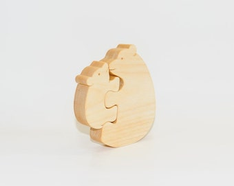 Wood Puzzle polar bears mom and baby. Wooden handmade toys, wooden animals, Natural eco friendly, waldorf toy, education children.