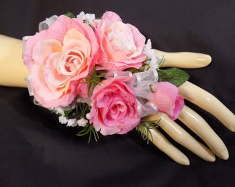 Wrist Corsage - Pink Rose Silk Flower Corsage - Floral Corsage - Mother of the Bride Corsage - Prom Corsage