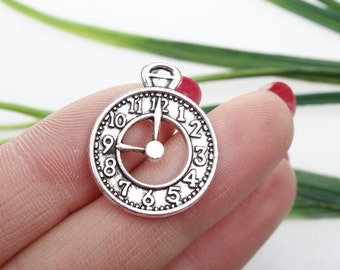 Own Charm~ Antique Silver Clock Charm Clock Pendant 25x20mm