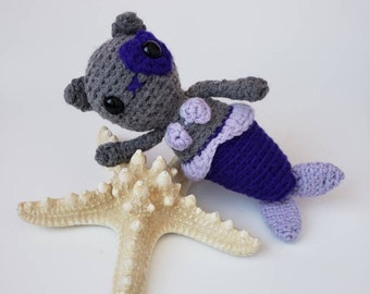 Mercat Crochet Doll, Purrmaid Stuffed Animal, Plush Merkitty, Kid's Bithday Gift, Mermaid Cat Toy, Gifts under 50, Amigurumi Purrmaid Doll