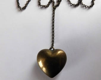 Vintage Brass Puffy Heart Necklace Lariat Y Necklace Sweetheart Jewelry