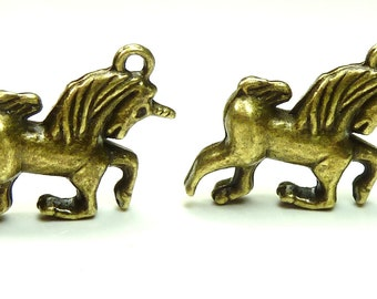 6 Galloping Unicorn Charms or Pendants (3D and Double Sided) Antique Bronze Tone Metal 16x22mm - BH16