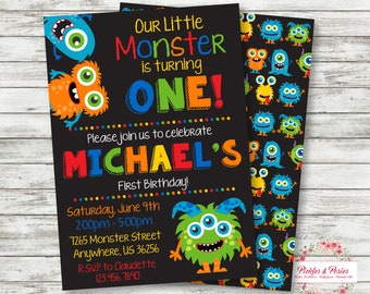 Monster Birthday Invitation - Monster Party Invitation - Monster Birthday Supplies - Printable - Digital File - PRINT THEM YOURSELF!
