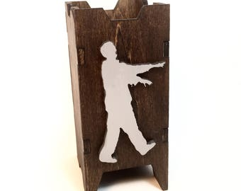 Zombie Themed Dice Tower, Dice Tower, Wood Dice Tower, Wood Dice Chute, Zombie Dice Tower, Zombie